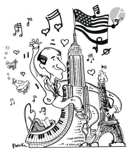 Jean Plantureux dit PLANTU (né en 1951) Musique - Hommage à Gershwin, 2 avril 1998...