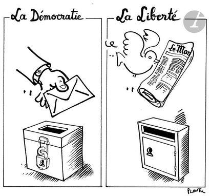 Jean Plantureux dit PLANTU (né en 1951) Société - la Démocratie, la Liberté, 19...