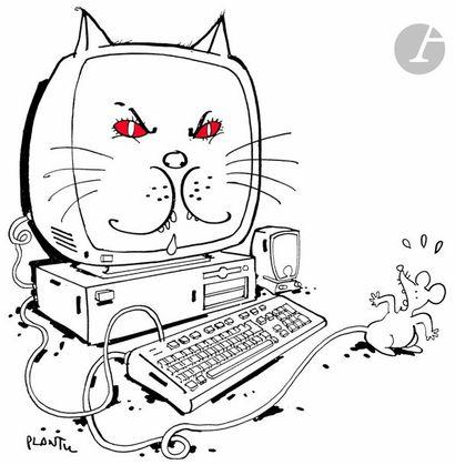 Jean Plantureux dit PLANTU (né en 1951) Internet - La Chat et la souris, 6 mai 2000...