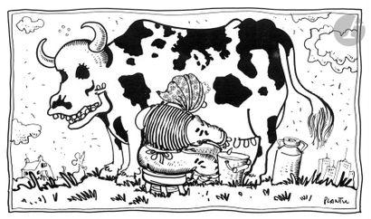 Jean Plantureux dit PLANTU (né en 1951) Agriculture - Vache folle, 28 octobre 2000...