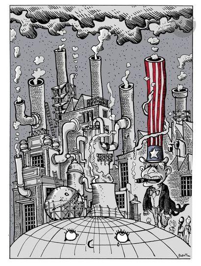 Jean Plantureux dit PLANTU (né en 1951) Environnement - Pollution [Georges Bush],...