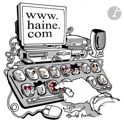 Jean Plantureux dit PLANTU (né en 1951) Internet - www.haine.com, 17 juin 2004 Feutre....