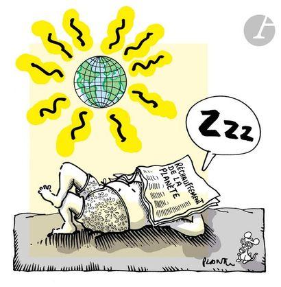 Jean Plantureux dit PLANTU (né en 1951) Environnement - Réchauffement de la planète,...