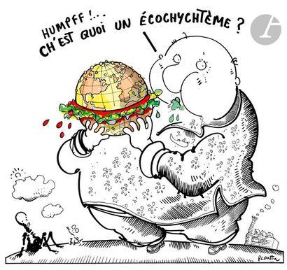 Jean Plantureux dit PLANTU (né en 1951) Environnement - Ch'est quoi un échochychtème...