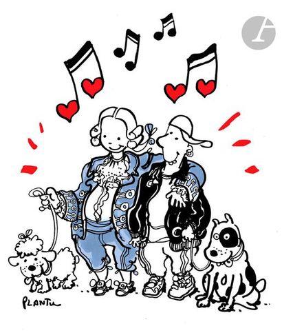 Jean Plantureux dit PLANTU (né en 1951) Musique - Mozart, août 2005 Feutre. Signé...