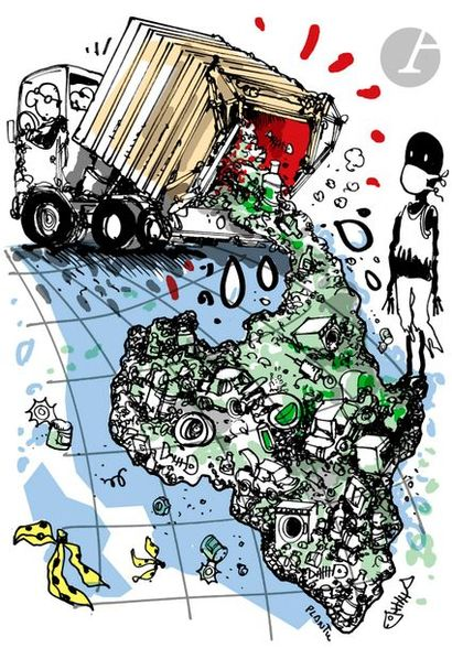 Jean Plantureux dit PLANTU (né en 1951) Environnement - Afrique poubelle, 9 septembre...