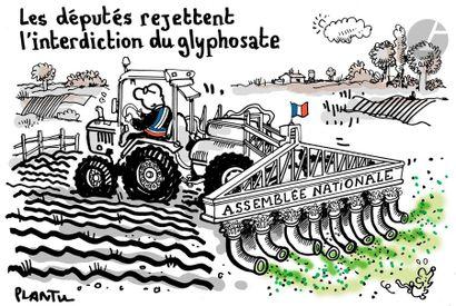 Jean Plantureux dit PLANTU (né en 1951) Environnement - Glyphosate Feutre. Signé...