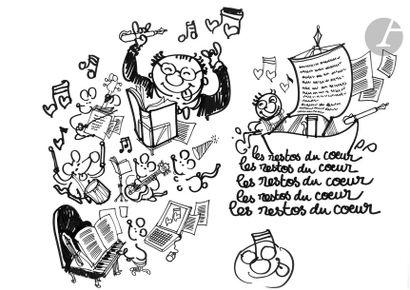 Jean Plantureux dit PLANTU (né en 1951) Coluche...
