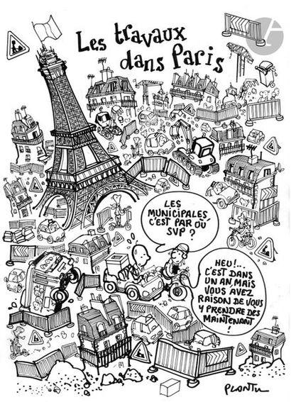 Jean Plantureux dit PLANTU (né en 1951) Société - Les Travaux dans Paris, 10 avril...