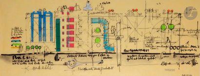 Renzo PIANO [italien] (né en 1937) Étude pour la restauration du Centre Georges...