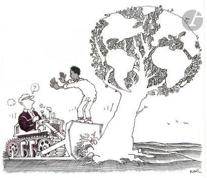 Jean Plantureux dit PLANTU (né en 1951) Mondialisation, janvier 1982 Encre et feutre....