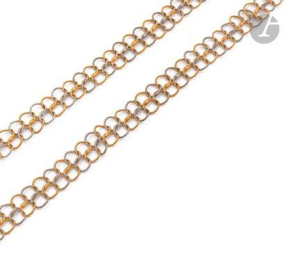 Long collier en deux tons d'or 18K (750),...