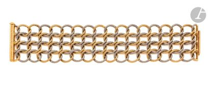 GEORGES LENFANT Bracelet en deux tons d'or...