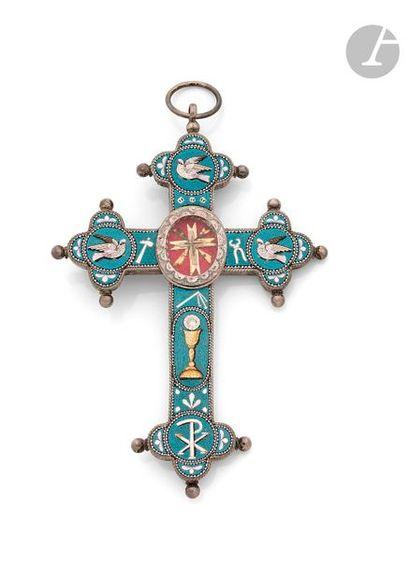Pendentif croix reliquaire quadrilobée en...