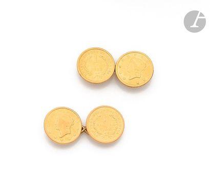 Paire de boutons de manchettes en or jaune...