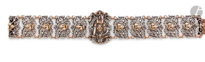 Bracelet en argent et vermeil, articulé de...