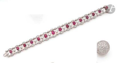 Bracelet en or gris 18K (750) articulé de...