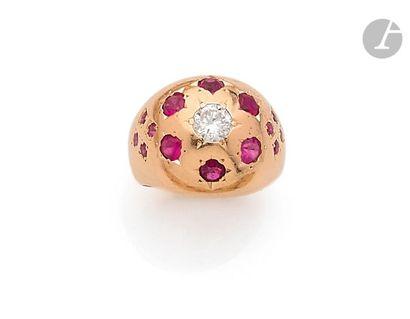 Bague de petit doigt en or rose 18K (750),...