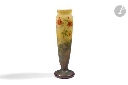 DAUM NANCY Ancolies Haut vase cornet de section...