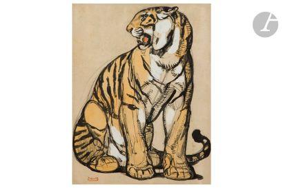 PAUL JOUVE (1878-1973) Tigre assis Technique...