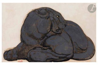 PAUL JOUVE (1878-1973) Panthère noire, couchée...