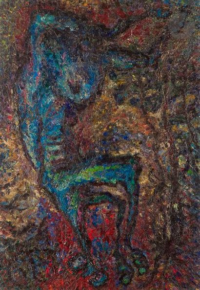 Suzanne WENGER [autrichienne] (1915-2009) Invocation, 1954 Huile sur toile. Non...