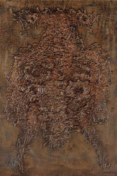 Jan LEBENSTEIN [polonais] (1930-1999) Figure n° 138, 1962 Technique mixte sur toile....