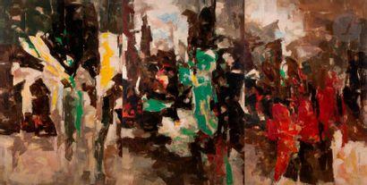 Paul KALLOS [hongrois] (1928-2001) Composition, 1960 Huile sur toile contrecollée...