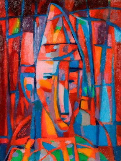 Alfred MANESSIER (1911-1993) Clown, 1944 Huile sur toile. Signée et datée en bas...