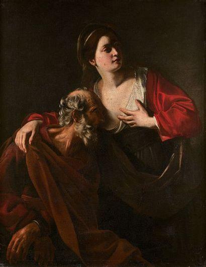 Nicolas TOURNIER (Montbéliard 1590 - Toulouse 1639) La Charité romaine Toile. Restaurations...