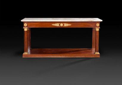Grande table console en acajou et bronze...