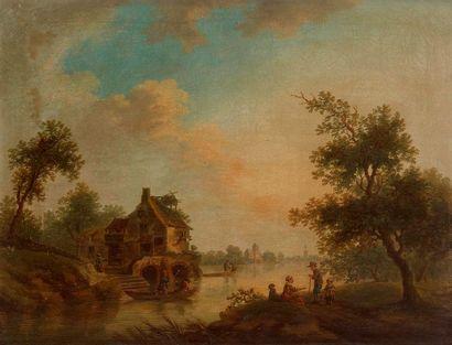 École FRANÇAISE vers 1790 Paysage lacustre...