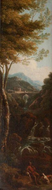 École ROMAINE vers 1730, entourage de Frans Van BLOEMEN Paysages animés Paire de...