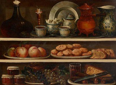 Attribué à Claude Joseph FRAICHOT (1732-1803) Nature morte aux bouteilles de vin,...