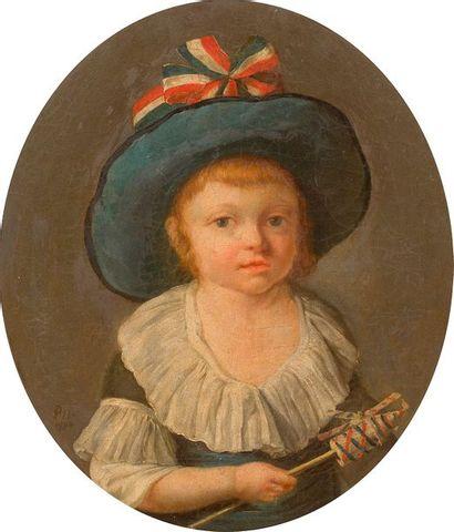 École FRANÇAISE, 1790 Enfant tenant un moulin...