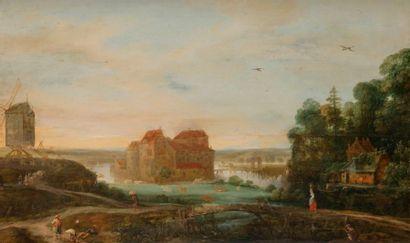 Attribué à Adriaen Van STALBEMPT (1580-1662) Paysage animé en bordure de rivière...