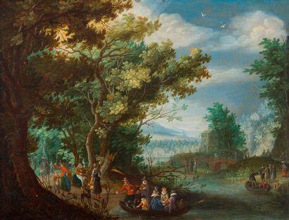 Attribué à Peter STEVENS (1567- après 1624) Paysage animé en bord de rivière Cuivre...