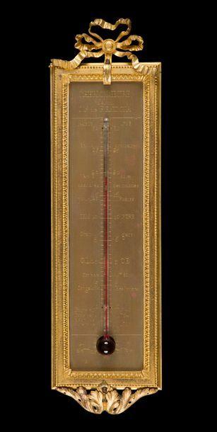 Thermomètre en bronze doré et laiton gravé,...