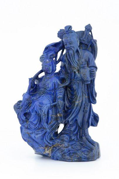 CHINE XXème Siècle  GROUPE en lapis lazuli...