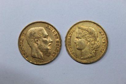 BELGIQUE. LEOPOLD II (1865-1909). 20 francs....
