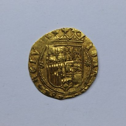 ESPAGNE. CHARLES et JEANNE (1516-1556). Escudo....