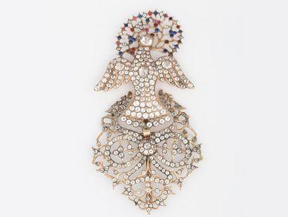 Beau pendentif Saint Esprit en or 585 millièmes,...