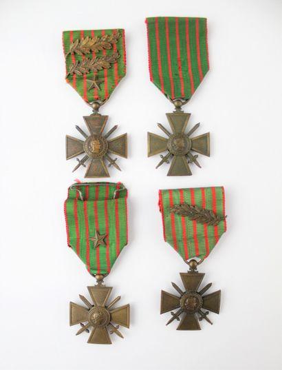 SET OF 4 WAR CROSSES 1914-1915.  In bronze....