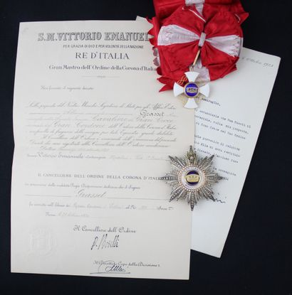 ITALY  ORDER OF THE CROWN  GRAND CROSS SET...