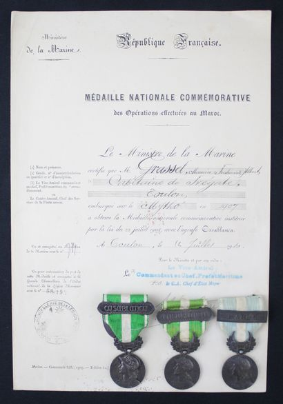 FRANCE  MEDAL OF MOROCCO  Three medals of...