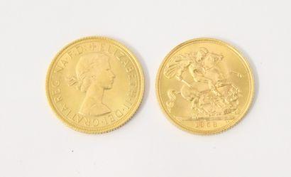 2 SOUVERAINS or 1958 et 1965  P. 16 g  Lot...