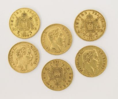 6 pièces de 20 Francs Français or Napoléon...