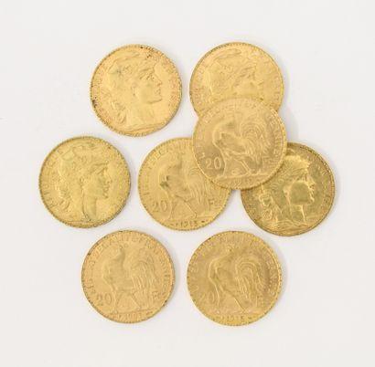 8 pièces de 20 Francs Français or Coq Marianne...