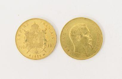 2 pièces de 100 Francs Français or Napoléon...