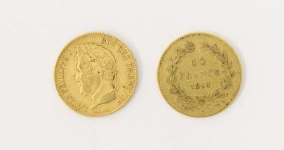 2 pièces de 40 Francs Français or Louis-Philippe...